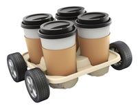 有持有人的外卖咖啡杯 免版税库存照片