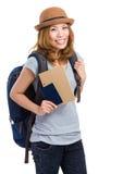 有持的护照妇女背包徒步旅行者 免版税库存图片