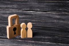 有挂锁的木人 有锁的两个人 免版税库存图片