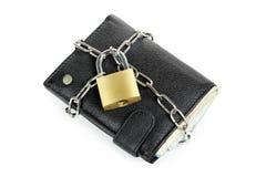 有挂锁的钱包 免版税库存图片