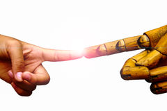 有指向用木食指手的食指的手与 库存图片