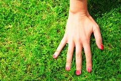 有指甲油的手在草 免版税库存照片