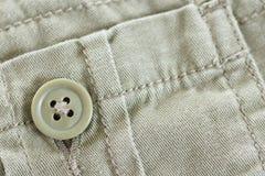 有按钮的卡其色的口袋 免版税库存照片