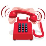 有按钮键盘的敲响的红色固定式电话 免版税库存照片