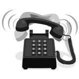 有按钮键盘的敲响的黑固定式电话 免版税库存照片
