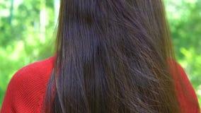 有挥动的头发的妇女在风 股票录像