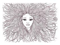 有挥动的头发的美丽的妇女 图表样式 拉长的黑笔 免版税库存照片