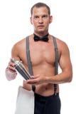 有振动器的英俊的年轻男服务员在手中 免版税库存照片
