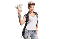 有捆绑的快乐的低劣的女孩金钱 库存图片