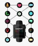有接口的巧妙的手表和被设置的App象 有lcd屏幕的概念design.futuristic注射器 也corel凹道例证向量 平的样式 库存图片