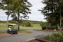 有推车的绿色高尔夫球场 库存照片