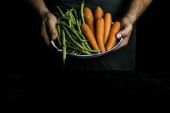 有提出菜和庭院菜的绿色围裙的人 图库摄影