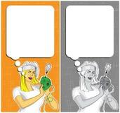 有搅拌器的妇女烹调和讲话泡影的 免版税库存图片