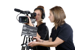 有摄象机的两个少妇 免版税库存照片