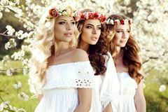 有摆在春天加尔德角的黑发的华美的妇女 库存照片