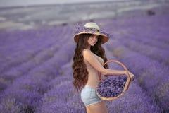 有摆在紫色的柳条帽子的美丽的少妇laven 库存图片