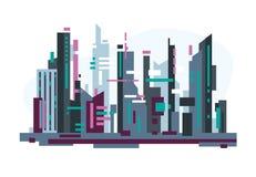 有摩天大楼的未来派城市 皇族释放例证