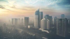 有摩天大楼的雅加达市日出的 免版税图库摄影