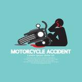 有摩托车的骑自行车的人有在事故 免版税库存照片