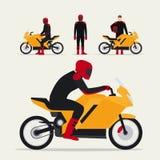 有摩托车的骑自行车的人 皇族释放例证
