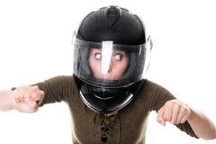 有摩托车盔甲的妇女 图库摄影