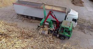 有操作器装载木柴的一辆卡车到木柴的一台切菜机里 有aplikami的卡车生物燃料的 生物燃料 影视素材
