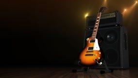 有放大器的电吉他 免版税库存照片