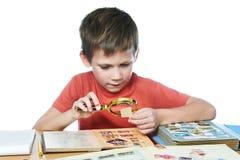 有放大器的男孩看他的被隔绝的集邮 免版税库存图片