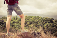 有放松在岩石和享受敬佩的背包的游人 图库摄影