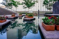 有放松角落的商业区 池塘,花反射 放松! 免版税库存照片