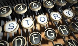 有故事按钮的打字机,葡萄酒 库存图片