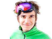 有效的屏蔽滑雪者年轻人 免版税库存照片