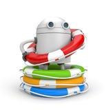 有救生圈堆的机器人  免版税库存照片