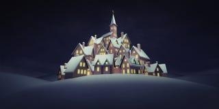 有教会的村庄在上面在镇静晚上 库存例证