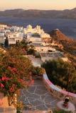 有教会风景的希腊村庄在芦粟海岛01上 库存图片