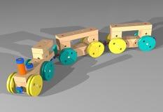 有教练的木玩具火车 免版税库存照片