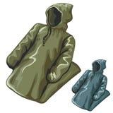 有敞篷的密集的雨夹克 免版税库存图片