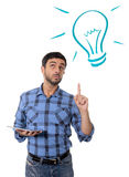 有数字式片剂新技术的概念、想法和解答人 免版税库存照片