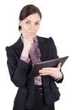 有数字式片剂的女商人 免版税库存图片