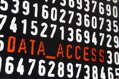 有数据存取文本的屏幕在黑背景 免版税库存图片