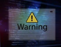 有文丐警告的计算机膝上型计算机突然出现 免版税图库摄影