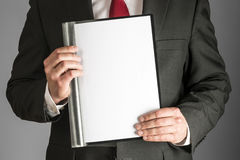 有文件夹的商人 免版税库存照片