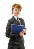 有文件夹的女实业家 免版税库存图片