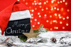 有文本'圣诞快乐的黑板 库存图片