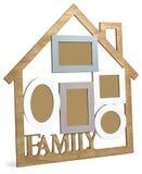 有文本家庭的木照片木屋 库存例证