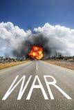 有文本战争的路 免版税库存照片