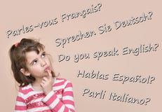 有文本的女孩您讲在五种不同语言的英语 免版税图库摄影