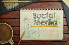 有文本的笔记本在桌上的社会媒介里面用咖啡,没有 免版税库存图片