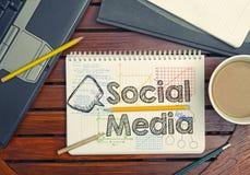 有文本的笔记本在桌上的社会媒介里面用咖啡,没有 库存图片