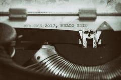 有文本的葡萄酒打字机 免版税库存照片